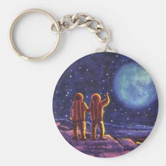 Vintage Science Fiction, Sci Fi Astronauts on Moon Basic Round Button Keychain