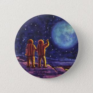 Vintage Science Fiction, Sci Fi Astronauts on Moon Pinback Button