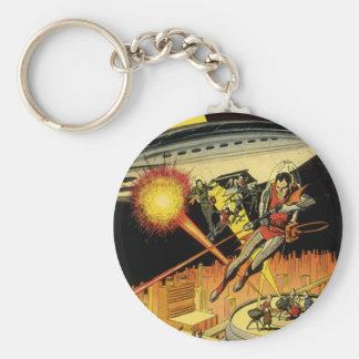 Vintage Science Fiction, Sci Fi, Battling Aliens Basic Round Button Keychain