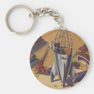 Vintage Science Fiction, Sci Fi, Building a Rocket Basic Round Button Keychain