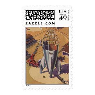 Vintage Science Fiction, Sci Fi, Building a Rocket Postage