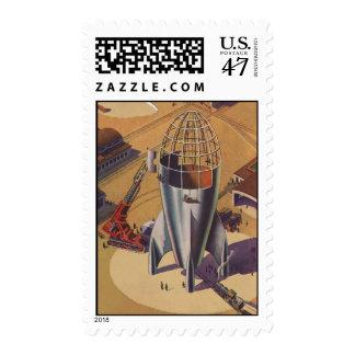 Vintage Science Fiction, Sci Fi, Building a Rocket Stamp