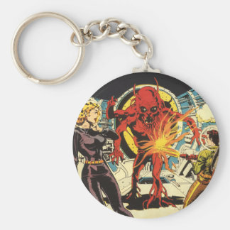 Vintage Science Fiction Sci Fi, Fighting the Alien Basic Round Button Keychain