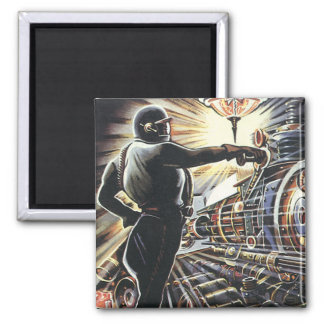 Vintage Science Fiction Sci Fi Futuristic Machines 2 Inch Square Magnet