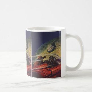 Vintage Science Fiction Sci fi Lunar Moon City Coffee Mugs