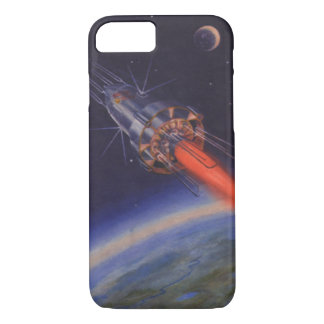 Vintage Science Fiction, Sci Fi Rocket over Earth iPhone 7 Case
