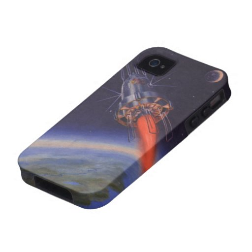 Vintage Science Fiction, Sci Fi, Rocketship Earth Case-Mate iPhone 4 Case