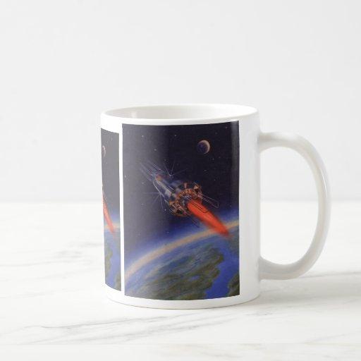 Vintage Science Fiction, Sci Fi, Rocketship Earth Coffee Mugs