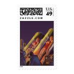Vintage Science Fiction, Sci Fi, Scientist in Lab Stamp