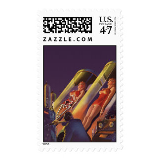 Vintage Science Fiction, Sci Fi Scientists in Lab Postage