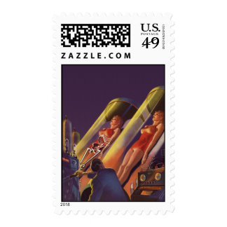 Vintage Science Fiction, Sci Fi Scientists in Lab Stamp
