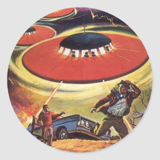 Vintage Science Fiction, Sci Fi UFO Alien Invasion Classic Round Sticker