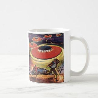 Vintage Science Fiction, Sci Fi UFO Alien Invasion Coffee Mug