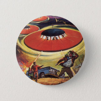 Vintage Science Fiction, Sci Fi UFO Alien Invasion Pinback Button