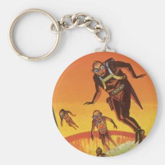 Vintage Science Fiction, Sci Fi Volcano Aliens Basic Round Button Keychain