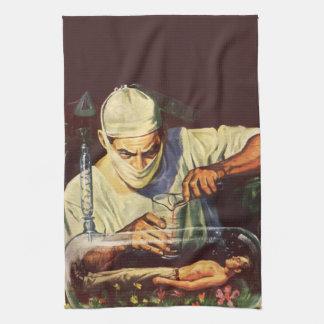 Vintage Science Fiction Scientist in Laboratory Kitchen Towel