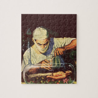 Vintage Science Fiction Scientist in Laboratory Jigsaw Puzzles