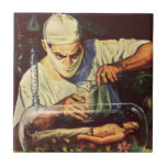 Vintage Science Fiction Scientist in Laboratory Tile