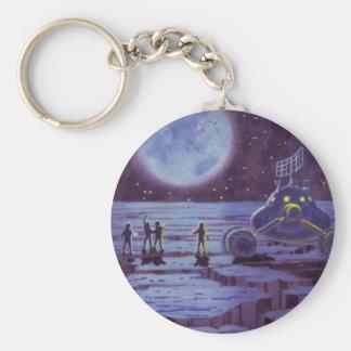 Vintage Science Fiction, SciFi Alien Lunar Landing Basic Round Button Keychain