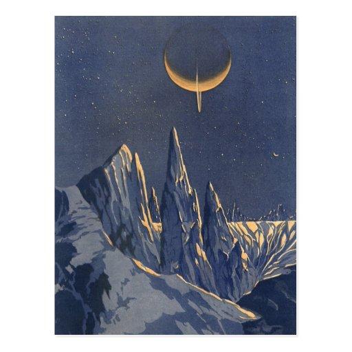 Vintage Science Fiction Snow Planet, Crescent Moon Postcard