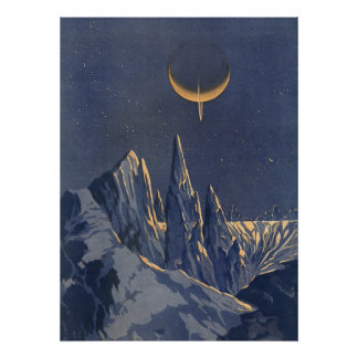 Vintage Science Fiction Snow Planet Crescent Moon Posters