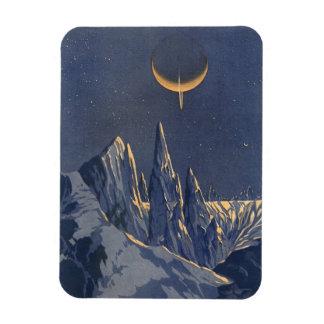 Vintage Science Fiction Snow Planet, Crescent Moon Rectangle Magnets
