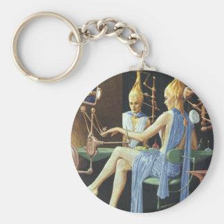 Vintage Science Fiction Spa Beauty Salon Manicures Basic Round Button Keychain