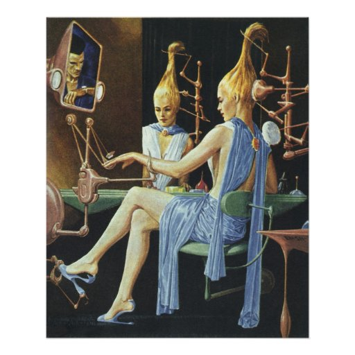 Vintage Science Fiction Spa Beauty Salon Manicures Posters