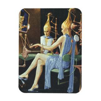 Vintage Science Fiction Spa Beauty Salon Manicures Rectangular Magnet