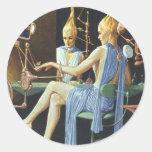 Vintage Science Fiction Spa Beauty Salon Manicures Round Sticker