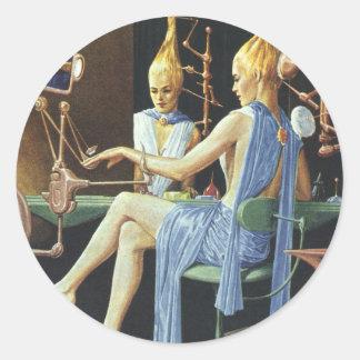 Vintage Science Fiction Spa Beauty Salon Manicures Classic Round Sticker