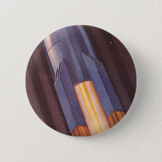 Vintage Science Fiction Space Ship Rockets Button