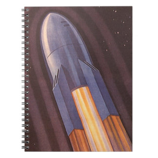 Vintage Science Fiction Space Ship Rockets Notebook