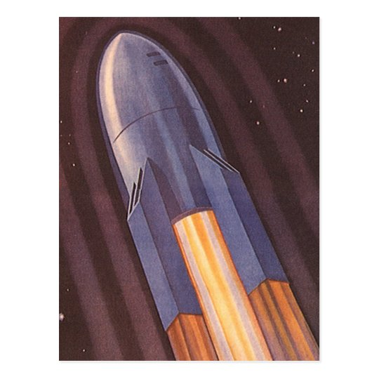 Vintage Science Fiction Space Ship Rockets Postcard