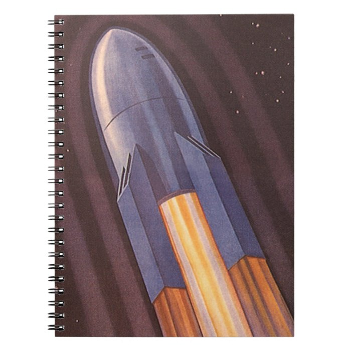 Vintage Science Fiction Space Ship Rockets Spiral Notebook