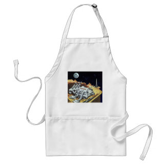 Vintage Science Fiction Space Station on the Moon Adult Apron