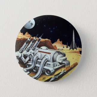 Vintage Science Fiction, Space Station on the Moon Button
