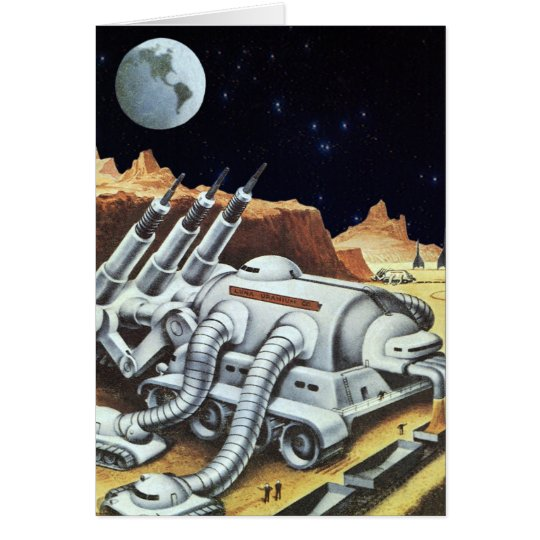 Vintage Science Fiction, Space Station on the Moon Card