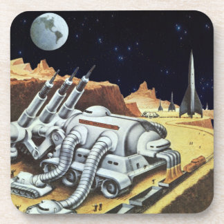 Vintage Science Fiction, Space Station on the Moon Drink Coaster