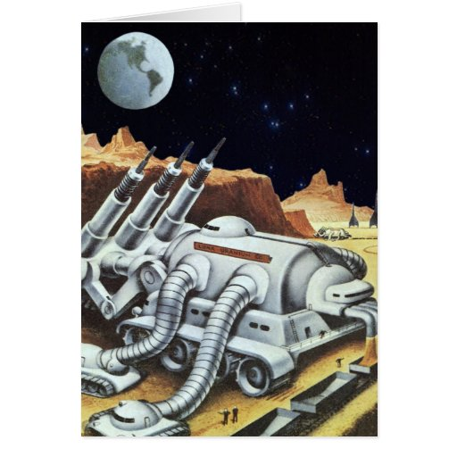 Vintage Science Fiction, Space Station on the Moon Greeting Card
