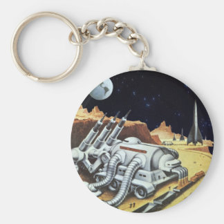 Vintage Science Fiction Space Station on the Moon Key Chain