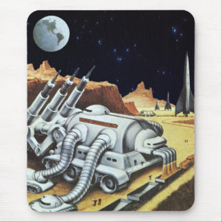 Vintage Science Fiction, Space Station on the Moon Mouse Pad