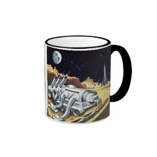 Vintage Science Fiction Space Station on the Moon Coffee Mug