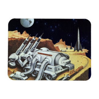 Vintage Science Fiction, Space Station on the Moon Rectangular Photo Magnet