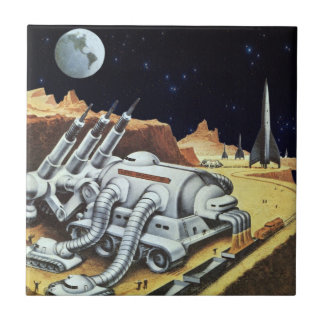Vintage Science Fiction, Space Station on the Moon Small Square Tile