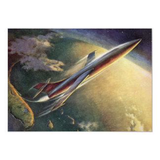 Vintage Science Fiction Spaceship Airplane Earth Card