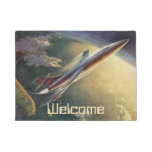 Vintage Science Fiction Spaceship Airplane Earth Doormat