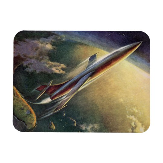 Vintage Science Fiction Spaceship Airplane Earth Magnet