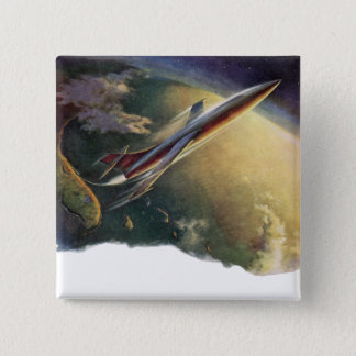 Vintage Science Fiction Spaceship Airplane Earth Pinback Button