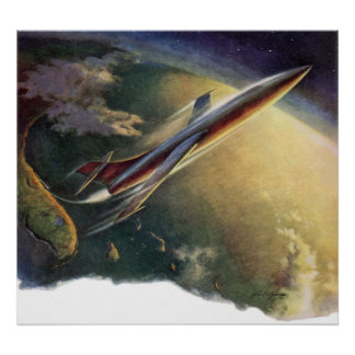 Vintage Science Fiction Spaceship Airplane Earth Poster